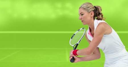 Digital composite of Tennis player woman with green background with racket