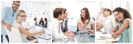 Digital composite of Teamwork business meeting collage Stock Photo