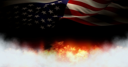 Digital composite of America flag and burning fire Stock Photo
