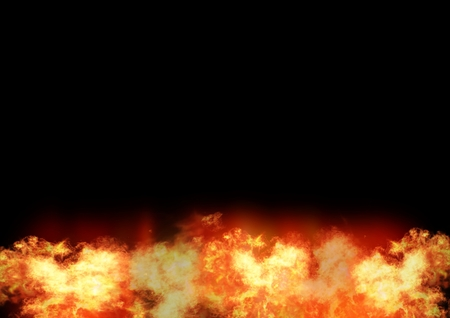 Digital composite of Burning fire with black space Stock Photo