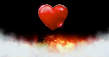 Digital composite of Burning love heart fire