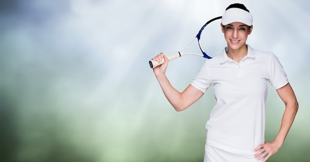 Digital composite of Tennis player woman with bright background with racket