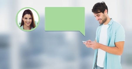 Digital composite of Man using phone with chat bubble messaging profile