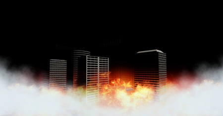 Digital composite of City buildings with burning fire