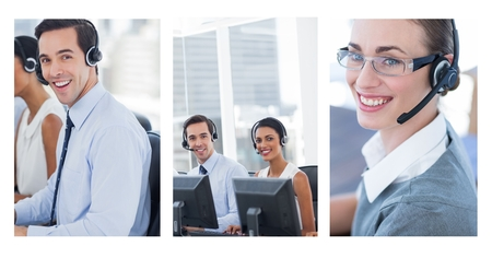 Digital composite of Collage of Customer Service help team in call center