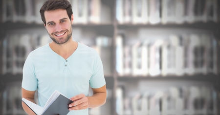 Digital composite of Student man in education library Stock Photo