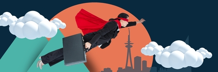 Digital composite of Composite image of businesswoman with cape flying with illustrated background