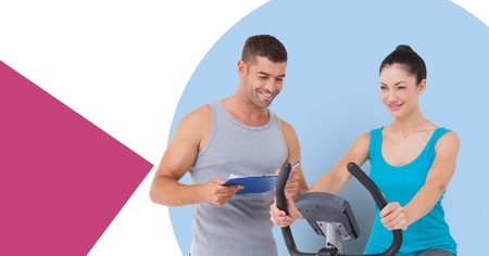 Digital composite of Personal Trainer with woman doing cardio