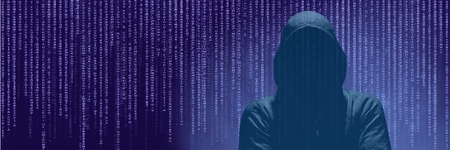 Digital composite of Anonymous Hacker On Purple Background