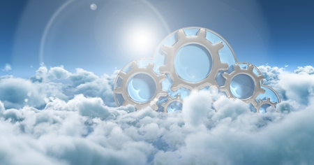 Digital composite of Composite image with sky and clouds and digital gears Stock Photo