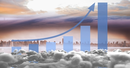 Digital composite of Composite image of skyline with clouds and statistical graph Stock Photo