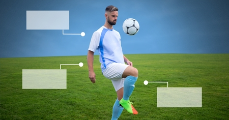 Digital composite of Blank infographic panels and Soccer player on grass with landscape and football Stockfoto