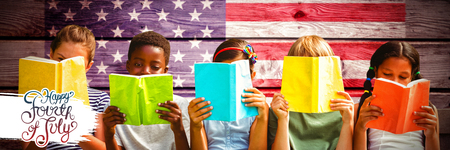 Independence day graphic against composite image of children reading books at park