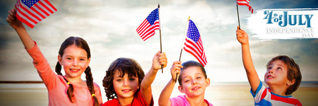 Independence day graphic against children holding american flags