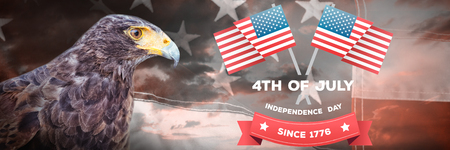 Independence day graphic against close-up of red and white american flag Stock Photo