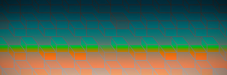 Colorful Geometric squares  against orange and turquoise background Stock Photo