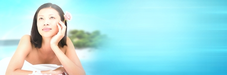 Digital composite of Happy spa woman relaxed with tropical paradise sea with transition