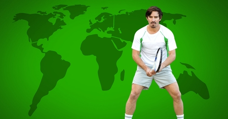 Digital composite of Tennis player man with world map
