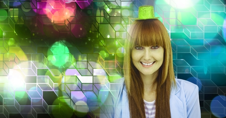 Digital composite of Fun party woman with geometric party lights venue atmosphere 写真素材