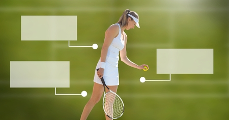 Digital composite of Tennis player woman with blank infographic chart panels
