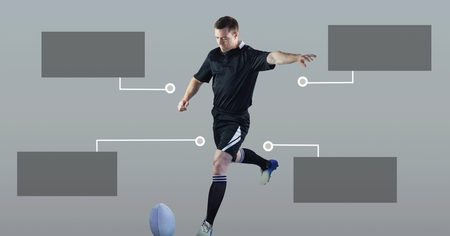 Digital composite of Rugby player with blank infographic chart panels