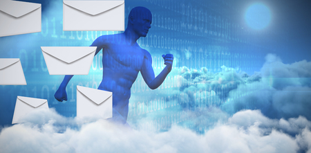 Graphic of Envelopes on white background against composite image of blue character running