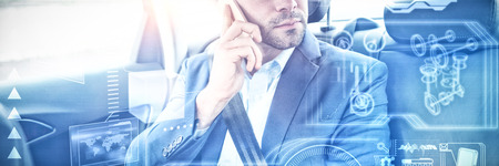 Digital interface against businessman call in a car