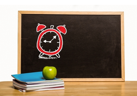Digital composite of Time clock education drawing on blackboard for school