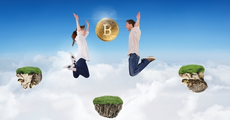 Digital composite of Couple collecting bitcoins jumping on game platforms in sky Stockfoto