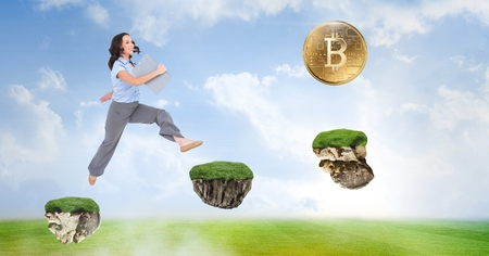 Digital composite of Businesswoman collecting bitcoins jumping on game platforms in sky Foto de archivo