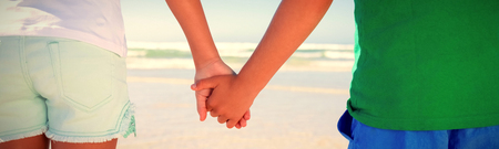 Mid section of siblings holding hands while standing at beach during sunny day