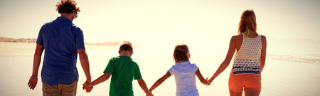 Rear view of family holding hands while walking together on shore at beach during sunny day