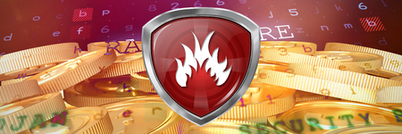 A red bug badge against bitcoins Stock Photo