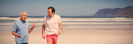 Man talking with his father while walking at beach during sunny day Stock Photo
