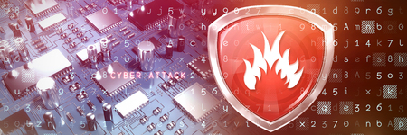 Red fire symbol against close up of circuit board