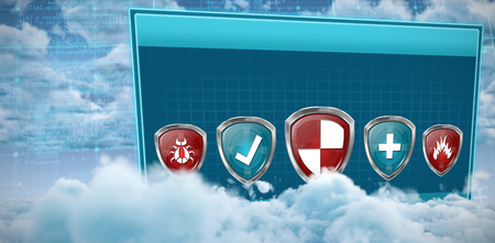 Various safety symbols against view of overcast against blue sky Stock Photo