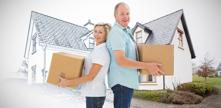 Happy older couple holding moving boxes against home sketch Stock Photo