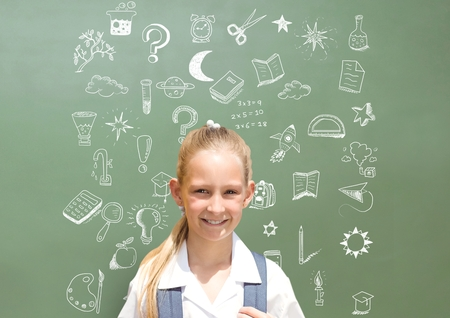 Digital composite of School girl and Education drawing on blackboard for school