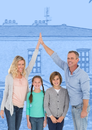 Digital composite of Family in front of house drawing sketch