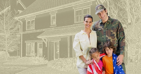 Digital composite of Military soldier family in front of house drawing sketch Banque d'images