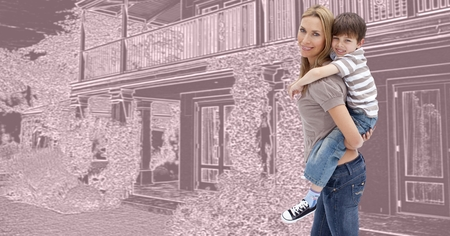 Digital composite of Mother and son in front of house drawing sketch
