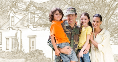 Digital composite of Military soldier family in front of house drawing sketch Reklamní fotografie