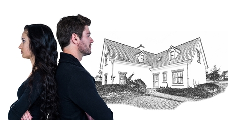 Digital composite of Couple unhappy in front of house drawing sketch