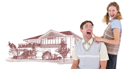 Digital composite of Couple in front of house drawing sketch Imagens