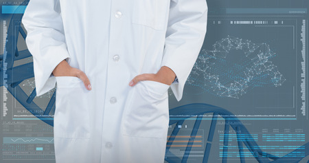 Doctor standing with hands in pocket against white background against helix diagram of dna Archivio Fotografico