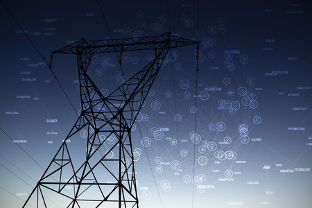 Icons in shape of earth against the evening electricity pylon silhouette Stock Photo