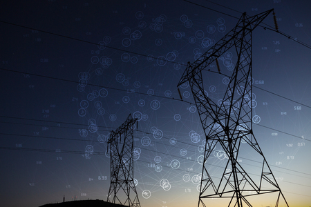 Sphere of icons against the evening electricity pylon silhouette