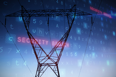 Virus background against the evening electricity pylon silhouette Stock Photo