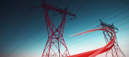 Grey line design against the evening electricity pylon silhouette