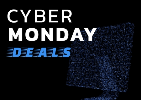 Digital composite of Cyber Monday Sale with blue monitor